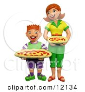 Clay Sculpture Clipart 3d Mom And Son Holding Pepperoni Pizzas Royalty Free 3d Illustration by Amy Vangsgard