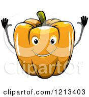 Clipart Of An Orange Bell Pepper Mascot Royalty Free Vector Illustration