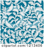 Clipart Of A Seamless Blue Floral Pattern Royalty Free Vector Illustration