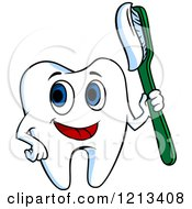 Clipart Of A Happy Tooth Character Holding A Brush Royalty Free Vector Illustration