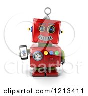Clipart Of A 3d Red Vintage Robot Holding A Smart Phone With A Picture On The Screen Royalty Free CGI Illustration