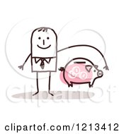 Clipart Of A Stick People Man Depicting Bank Insurane Royalty Free Vector Illustration