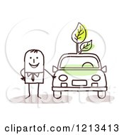 Stick People Man Standing By A Green Car With Leaves