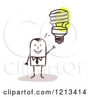 Clipart Of A Stick People Man With An Idea Light Bulb Royalty Free Vector Illustration by NL shop
