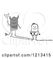 Clipart Of A Stick People Businessman With A Devil Shadow Royalty Free Vector Illustration