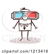 Stick People Man Wearing 3d Movie Glasses by NL shop