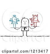 Clipart Of A Stick People Man With A Good And Bad Conscience Royalty Free Vector Illustration