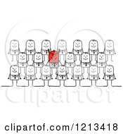 Clipart Of A Stick People Devil Business Man In A Crowd Royalty Free Vector Illustration