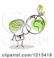 Clipart Of A Stick People Man With A Visible Brain Holding An Earth With Leaves Royalty Free Vector Illustration