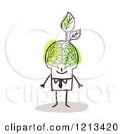 Clipart Of A Stick People Man With A Visible Green Brain And Leaves Royalty Free Vector Illustration