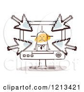 Clipart Of A Stick People Man In A Computer With Arrows Pointing At Him Royalty Free Vector Illustration by NL shop