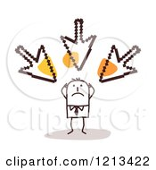 Clipart Of A Stick People Man Being Bullied By Arrow Cursors Royalty Free Vector Illustration by NL shop