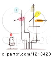 Clipart Of A Stick People Man With Confusing Arrow Signs Royalty Free Vector Illustration