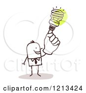 Clipart Of A Creative Stick People Man With A Spiral Light Bulb Hand Royalty Free Vector Illustration by NL shop