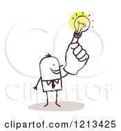 Clipart Of A Creative Stick People Man With A Light Bulb Hand Royalty Free Vector Illustration by NL shop
