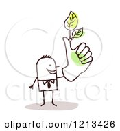 Clipart Of A Stick People Man With A Green Thumb And Leaves Royalty Free Vector Illustration