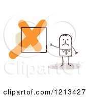Clipart Of A Sad Stick People Man By An X Box Royalty Free Vector Illustration