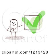 Clipart Of A Happy Stick People Man By A Check Mark Royalty Free Vector Illustration