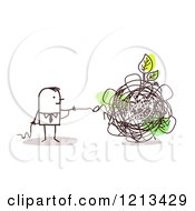 Clipart Of A Stick People Man Untangling A Green Leaf From A Knot Royalty Free Vector Illustration