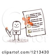 Clipart Of A Stick People Man Holding A Questionnaire Royalty Free Vector Illustration