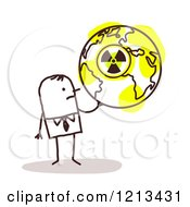 Clipart Of A Stick People Man Holding A Nuclear Radioactive Earth Royalty Free Vector Illustration
