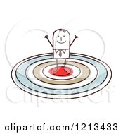 Clipart Of A Cheering Stick People Man On A Target Royalty Free Vector Illustration