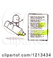Clipart Of A Stick People Business Man Riding A Marker By A Document Royalty Free Vector Illustration by NL shop