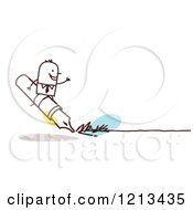 Clipart Of A Stick People Business Man Riding On A Writing Pen Royalty Free Vector Illustration