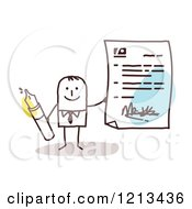 Stick People Business Man Holding A Signed Letter And A Pen