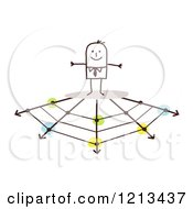 Clipart Of A Stick People Business Man On A Web Of Arrows Branching Off Royalty Free Vector Illustration by NL shop