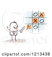 Clipart Of A Stick People Business Man Playing Tic Tac Toe Royalty Free Vector Illustration