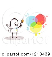 Clipart Of A Stick Person Man Artist With Paint Splatters Royalty Free Vector Illustration by NL shop