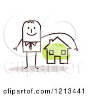 Clipart Of A Stick People Man Depicting Home Owners Insurance Royalty Free Vector Illustration