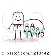 Clipart Of A Stick People Man Depicting Life Insurance Royalty Free Vector Illustration