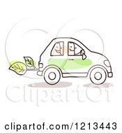 Clipart Of A Stick People Man Driving A Passenger In A Green Car Royalty Free Vector Illustration by NL shop