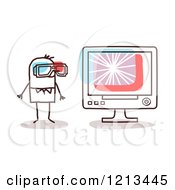 Stick People Man Watching A 3d Movie On A Computer by NL shop