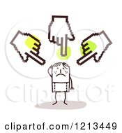 Clipart Of A Stick People Man Being Bullied By Hand Cursors Royalty Free Vector Illustration by NL shop