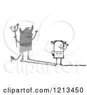 Clipart Of A Stick People Woman With A Devil Shadow Royalty Free Vector Illustration