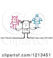 Clipart Of A Stick People Woman With A Good And Bad Conscience Royalty Free Vector Illustration by NL shop