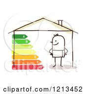 Clipart Of A Stick People Man In An Energy Efficient Home Royalty Free Vector Illustration