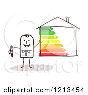 Clipart Of A Happy Stick People Man Holding A Key By An Energy Efficient Home Royalty Free Vector Illustration
