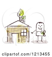 Clipart Of A Stick People Man By His Hand Built Home Royalty Free Vector Illustration by NL shop