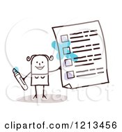 Clipart Of A Stick People Woman Holding A Questionnaire Royalty Free Vector Illustration