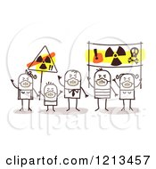 Clipart Of A Stick People Family Wearing Masks And Holding Anti Nuclear Energy Signs Royalty Free Vector Illustration