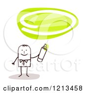 Clipart Of A Stick People Man Holding A Marker Under A Green Oval Royalty Free Vector Illustration