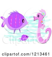 Seahorse And Fish Over Waves