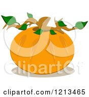 Round Pumpkin With A Stem And Leaves