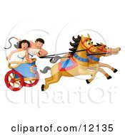 Clay Sculpture Clipart Roman Couple Racing A Chariot Royalty Free 3d Illustration