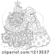 Cartoon Of An Outlined Santa Taking Gifts From His Sack And Putting Them Under A Christmas Tree Royalty Free Vector Clipart