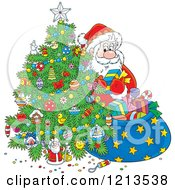 Cartoon Of Santa Taking Gifts From His Sack And Putting Them Under A Christmas Tree Royalty Free Vector Clipart